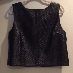 Black Faux Leather Boxy Cropped Tank